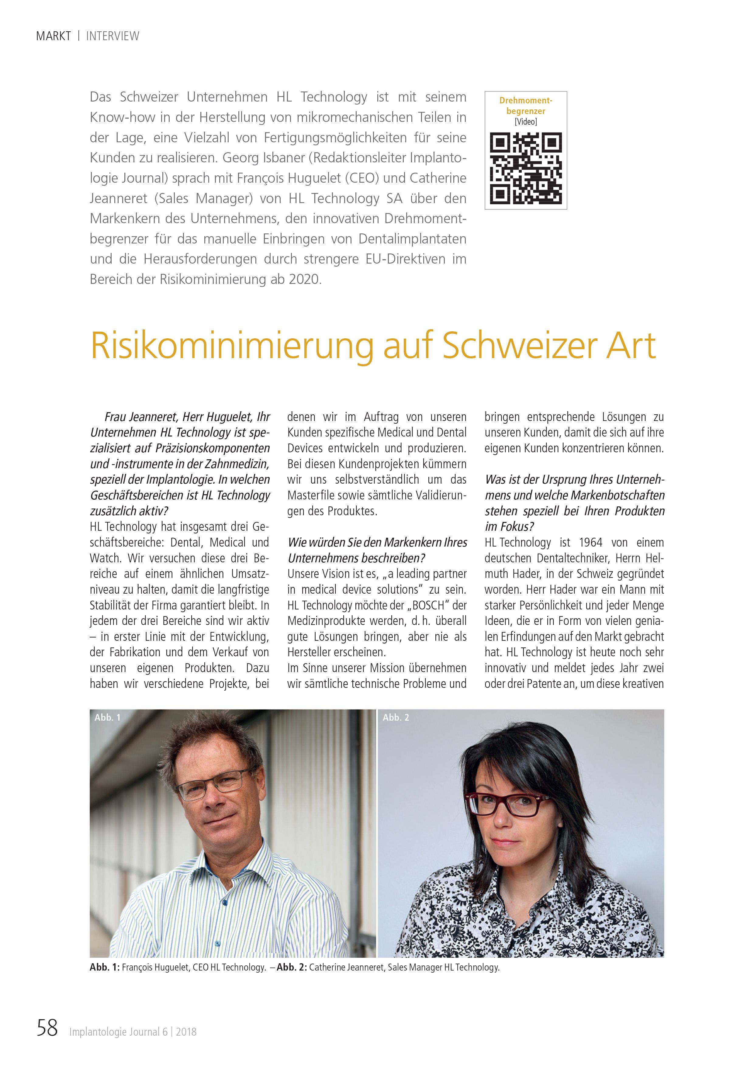Interview du journal allemand Implantologie HL-Technology Risikominimierung auf Schweizer Art